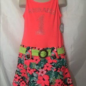 Piper Youth Girls Coral Summer Dress SZ 6/6X NEW